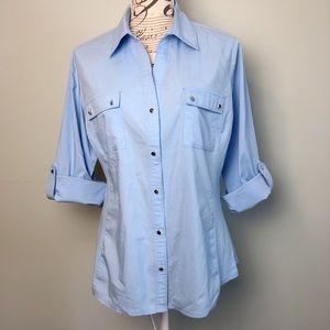 Zac & Rachel Button Down up shirt size Large blue